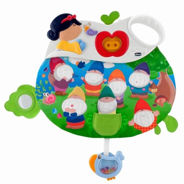Подвесная игрушка Chicco музыкальная панель Сказкамузыкальная панель СказкаМногоцветная электронная панель для кроватки со световыми эффектами и приятными мелодиями.  Панель предусматривает два режима: отдых и игру  Отдых: приглушенный свет и приятные мелодии помогают ребенку расслабиться  Игра: забавные мелодии развлекают ребенка, а разнообразная ручная работа (зеркальце, куколка для игры) стимулируют его сенсорное развитие  Чтобы услышать мелодии и звуковые эффекты, потяните за птичку и за гномиков<br>