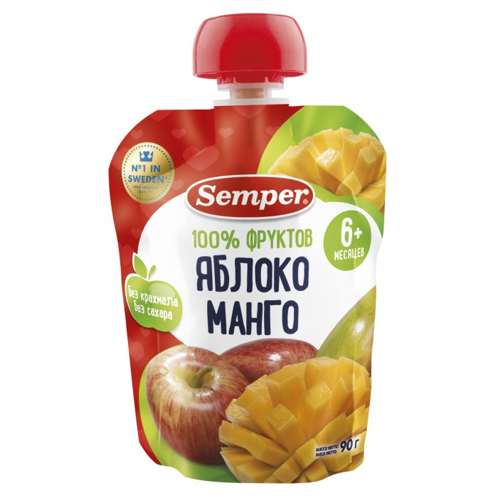 Semper Пюре Яблоко и манго с 6 мес., 90 г (пауч)