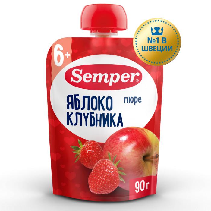 Semper Пюре Яблоко и клубника с 6 мес., 90 г (пауч)