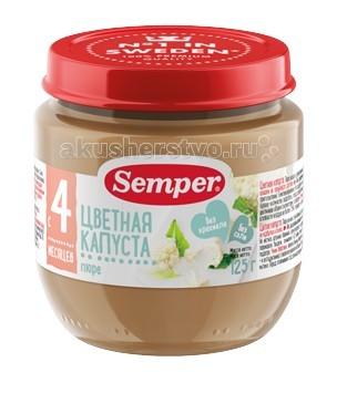 Semper Пюре Цветная капуста с 4 мес., 125 гПюре Цветная капуста с 4 мес., 125 гSemper Пюре Цветная капуста 4 мес., 125 г  Пюре Semper из цветной капусты прекрасно подходит для детей в качестве первого прикорма. Овощное пюре вводится в рацион ребенка постепенно, начиная с 1/2 чайной ложки, увеличивая за 5-7 дней до 60-100 г в день.   Цветная капуста обладает хорошими вкусовыми качествами и имеет по сравнению со многими другими овощами значительную пищевую ценность.  Цветная капуста содержит нежную растительную клетчатку, богата аскорбиновой кислотой и витаминами А, группы В, РР, белком, углеводами, минеральными солями фосфора, кальция и магния. В ее головках содержатся полноценные по аминокислотному составу белки.  В цветной капусте присутствуют железо и кобальт, магний и йод — все это необходимо для нормальных обменных процессов, что очень важно для быстро растущих маленьких детей.  По набору и содержанию витаминов (витамин С, группы В, Е, РР) цветная капуста находится в числе лидеров среди овощей. Она допускает мягкую термическую обработку и особенно полезна в детском питании.  Овощное пюре Semper из цветной капусты рекомендуется детям с 4 месяцев. Это пюре благотворно воздействует на работу детского желудка и кишечника. Срок введения прикорма рекомендован в соответствии с методическими указаниями Минздрава РФ.  Состав: цветная капуста рисовая мука (для консистенции) оливковое масло вода. Без добавления консервантов, красителей и искусственных добавок. Без добавления сахара, соли. Без глютена. Без крахмала. Гипоаллергенный продукт.<br>