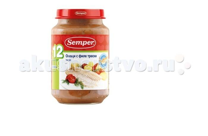 Semper Пюре Овощи с филе трески с 12 мес., 190 г