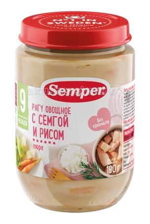 Semper Пюре Овощное рагу с семгой и рисом с 9 мес., 190 г