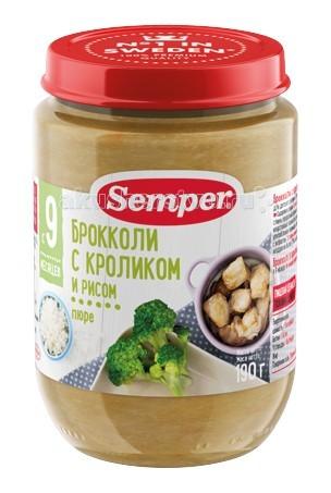 Semper Пюре Брокколи с кроликом и рисом с 9 мес., 190 гПюре Брокколи с кроликом и рисом с 9 мес., 190 гSemper Пюре Брокколи с кроликом и рисом 9 мес., 190 г  Мясо кролика — это уникальный гипоаллергенный диетический продукт, который усваивается на 96%. Оно незаменимо для детей с анемией или пищевой аллергией.  Пюре Брокколи с кроликом и рисом поможет организму малыша поддерживать сбалансированный жировой обмен и оптимальный баланс питательных веществ. Мясо кролика не может содержать холестерин, пестициды, гербициды, следы лекарственных и любых других химических препаратов, поэтому идеально подходит ребенку в качестве первого мясного прикорма.  Брокколи по своим пищевым и диетическим свойствам обогнала даже цветную капусту. Ее белок в качественном отношении не уступает даже животным белкам. Брокколи в полтора-два раза богаче витаминами, особенно витамином С и бета-каротином.  Пюре вводится в рацион ребенка постепенно, начиная с 1/2 чайной ложки, увеличивая за 5-7 дней до 60-100 г в день.   Состав: брокколи мясо кролика рис морковь рисовая мука рапсовое масло сливки кукурузный крахмал соль вода. Без добавления консервантов, красителей и искусственных добавок. Высокая питательная ценность.<br>