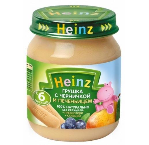 Heinz Пюре Грушка и черничка с печеньицем с 6 мес., 120 гПюре Грушка и черничка с печеньицем с 6 мес., 120 гHeinz Пюре Грушка и черничка с печеньицем 6 мес., 120 г  Черника — одна из самых полезных ягод для ребенка. Она содержит витамин С, углеводы, пищевые волокна, натрий, калий, кальций, фосфор, магний. Она богата дубильными веществами, поэтому ее рекомендуют использовать при диарее и других проблемах с желудочно-кишечным трактом.   В чернике много железа, и усваивается оно легче, чем из лекарственных препаратов.   Груша богата органическими кислотами, повышающими выделение пищеварительных соков и активных ферментов, что улучшает аппетит ребенка. Содержит растительную клетчатку и пектин, которые имеют бактерицидные свойства и способствуют росту собственных бифидобактерий в кишечнике. Это обстоятельство особенно важно, если ребенок получал лечение антибиотиками.  Продукт рекомендован для детей старше 6 месяцев. Введение нового блюда начинайте с 1 чайной ложки, постепенно доводя порцию до возрастной нормы. Нужное количество подогреть, не добавляя сахара. Не разогревать повторно.  Состав:  грушевое пюре (100%) черничное пюре  печенье (мука пшеничная, сахар, масла растительные, молоко сухое обезжиренное, волокна пребиотические инулин, разрыхлители, солод ячменный, вещества минеральные и витамины, ароматизатор натуральный) сахар пребиотики (галактоолигосахариды) лактат кальция сок лимонный концентрированный витамин С. Без добавления консервантов, красителей и искусственных добавок. Не содержит сахар и крахмал, ГМО.<br>