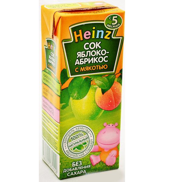 Heinz Сок Яблочно-абрикосовый с мякотью с 5 мес., 200 мл (тетра пак)