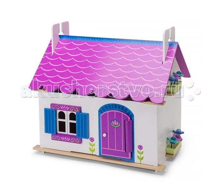 LeToyVan Кукольный домик Анна с мебельюКукольный домик Анна с мебельюLe Toy Van Кукольный домик Анна с мебелью - этот деревянный домик приведёт в восторг любую девочку. Очарование сказки во всех деталях - сиреневая крыша, которая разукрашена под настоящую черепицу; сиреневая дверь и отделка окон, синие ставни - так и хочется заглянуть внутрь. Кто же может жить в таком домике?  Любые жители ростом не более 15 см, могут с комфортом разместиться внутри.   У домика 1 полноценный этаж и 1 этаж-мансарда. Окна, ставни, двери свободно открываются и закрываются; полотна крыши перекидываются на одну сторону или снимаются полностью, образуя простор для игры. Внутри домик разукрашен. Задняя стенка глухая. Конструкция домика легко и быстро собирается, не требует специальных инструментов, можно протирать мягкой влажной тряпочкой. Кукольный домик изготовлен из натуральных материалов и окрашен специальными безопасными для детей красками.    В комплекте: детали для постройки дома<br>