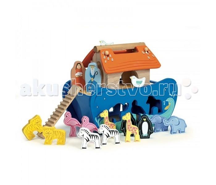 LeToyVan Игровой набор КовчегИгровой набор КовчегLe Toy Van Игровой набор Ковчег - это классическая деревянная игрушка-головоломка для самых маленьких. Игрушка выполнена в форме синего ковчега. Съемная крыша состоит из двух полотен, а на торцах домика есть ещё и круглые отверстия. Малыш должен поместить 7 пар фигур животных, также фигуры Ноя и его жены, входящих в комплект, в корабль. Игрушка упакована в красочную коробку с пластиковой ручкой для переноски.  В комплекте:  7 пар фигур животных  1 пару Ноя и его жены<br>