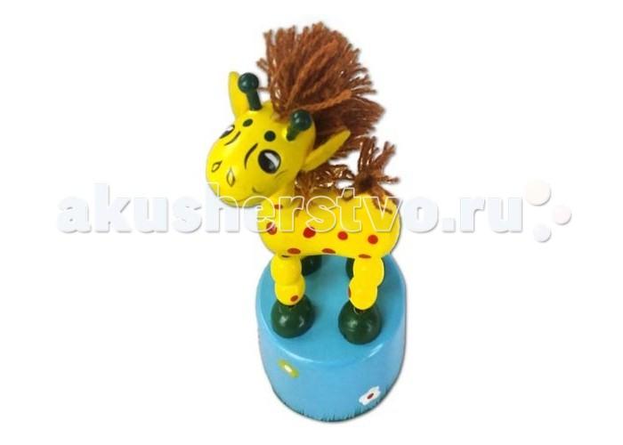 Деревянная игрушка Mapacha Танцующий жираф с гривойТанцующий жираф с гривойДеревянная игрушка Mapacha Танцующий жираф с гривой несомненно понравится Вашему малышу. Если нажать пальцем на кнопку снизу, то жираф начнет танцевать - двигаться, наклоняясь в разные стороны.  Игрушка развивает воображение, координацию движений и мелкую моторику рук. Изготовлена из натурального дерева. Высота игрушки: 10 см<br>