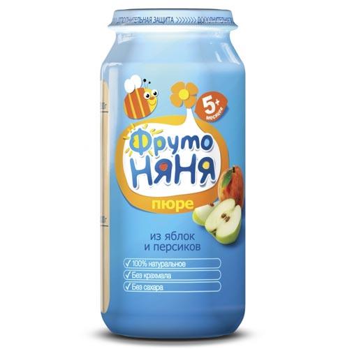 ФрутоНяня Пюре из яблок и персиков с 5 мес., 250 гПюре из яблок и персиков с 5 мес., 250 гФрутоНяня Пюре из яблок и персиков с 5 мес., 250 г   Яблоки богаты не только пектином, но и сахарами (фруктоза, глюкоза, сахароза), железом, витамином С.  Персик содержит натуральное растительное волокно, а также является источником калия, который необходим для работы сердца, сокращения мышц, деятельности нервной системы.   Пюре богато витаминами и минеральными солями, пектином, способным выводить из организма токсические вещества. Содержит органические кислоты и клетчатку, благоприятно воздействующую на работу кишечника.  Фруктовое пюре рекомендуется добавлять в один из приемов пищи после основного питания. Так же, как и при введении любого другого прикорма, после введения фруктового пюре в рацион необходимо пристально наблюдать за реакцией малыша на прикорм - следить за состоянием кожи и стулом. При появлении сыпи или жидкого стула следует отменить продукт и посоветоваться с врачом.   Продукт рекомендован для детей старше 5 месяцев. Сок вводится в рацион ребенка постепенно, начиная с 1 чайной ложки, увеличивая за 5-7 дней до 60-100 г в день.   Состав: пюре из яблок  пюре из персиков вода. Без добавления консервантов, красителей и искусственных добавок. Без добавления сахара, крахмала.<br>