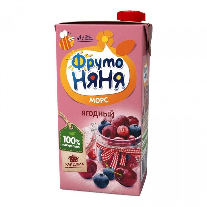 ФрутоНяня Морс из ягод с 3 лет, 500 мл (тетра пак)Морс из ягод с 3 лет, 500 мл (тетра пак)ФрутоНяня Морс из ягод с 3 лет, 500 мл (тетра пак)   Вишня богата пектином, витаминами А, С, РР, а также органическими кислотами. В плодах вишни много ценных минеральных веществ, таких как медь, калий, железо, магний. Высокое содержание железа, витамина С и фолиевой кислоты полезно для профилактики анемии. Клюквенный сок и морс дают лихорадящим больным при гриппе, ангине, инфекционных заболеваниях. В чернике много цинка и кальция, она содержит дубильное вещество танин, обладающее дезинфицирующим и противовоспалительным действием.  Клюква помогает укрепить иммунитет и нормализовать обмен веществ ребенка, улучшает работу желудка и кишечника, возбуждает деятельность пищеварительных желез. В народной медицине употребляется при пониженной кислотности желудочного сока. Крахмал обладает обволакивающим свойством и успокаивает желудок ребенка.  Состав:  пюре из вишни сок из клюквы пюре из черники кислота лимонная сахар вода. Без добавления консервантов, красителей и искусственных добавок.<br>