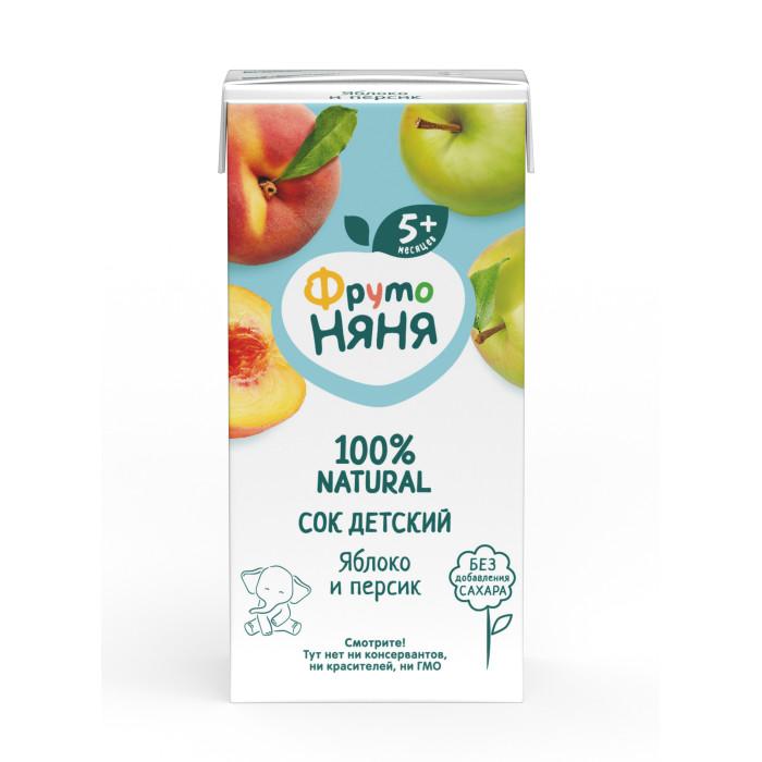 Соки и напитки ФрутоНяня Сок из яблок и персиков с 5 мес., 200 мл (тетра пак)