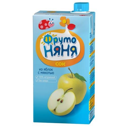ФрутоНяня Сок из яблок с мякотью с 3 лет, 500 мл (тетра пак)