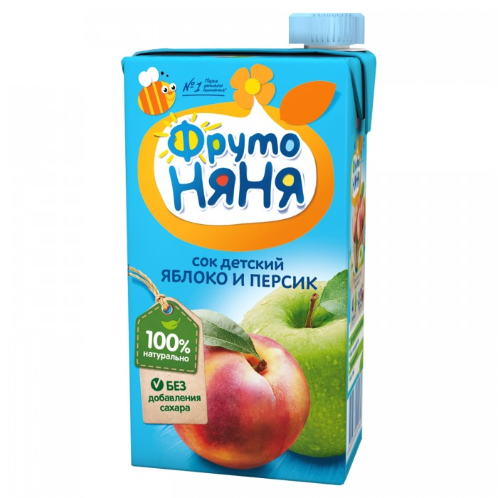 ФрутоНяня Сок из яблок и персиков с 3 лет, 500 мл (тетра пак)