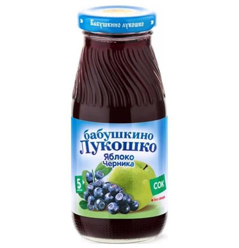 Соки и напитки Бабушкино лукошко Сок Яблоко, черника осветленный с 5 мес., 200 мл