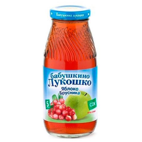 Соки и напитки Бабушкино лукошко Сок Яблоко, брусника осветленный с 6 мес., 200 мл