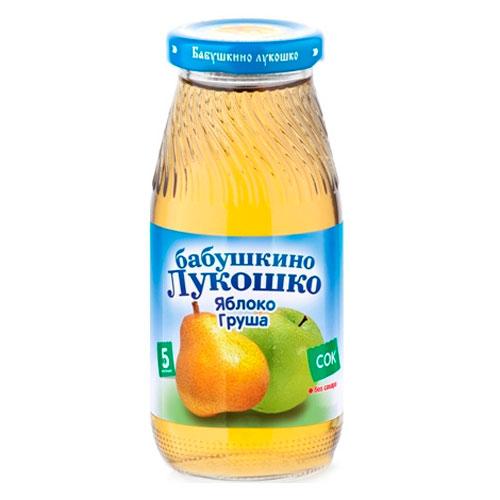 Соки и напитки Бабушкино лукошко Сок Яблоко, груша осветленный с 5 мес., 200 мл