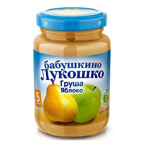 Бабушкино лукошко Пюре Груша, яблоко с 5 мес., 200 г