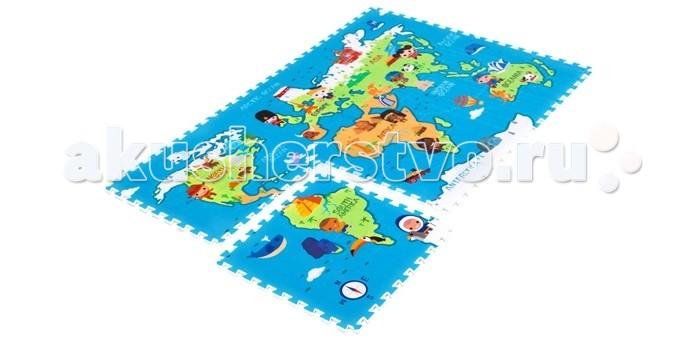 Игровой коврик Mambobaby Карта мира 180х120х2 смКарта мира 180х120х2 смРазвивающий коврик-пазл Карта мира для детей от 0 до 4 лет, размер 180х120х2см. Пазлы коврика 60х60см, 6 штук, являются фрагментами целого изображения, которые необходимо сложить воедино и увидеть законченную картинку. Изображение на коврике познавательное и очень интересное для ребенка.  Коврик односторонний из мягкого, но прочного поролона. Не промокает, теплоизолирующий, суперлегкий. Это идеальная площадка для ползания, игр и развития Вашего малыша. Изготовлен из безопасных материалов, не выделяющих токсинов и не имеющих запаха.   Производство Китай.<br>