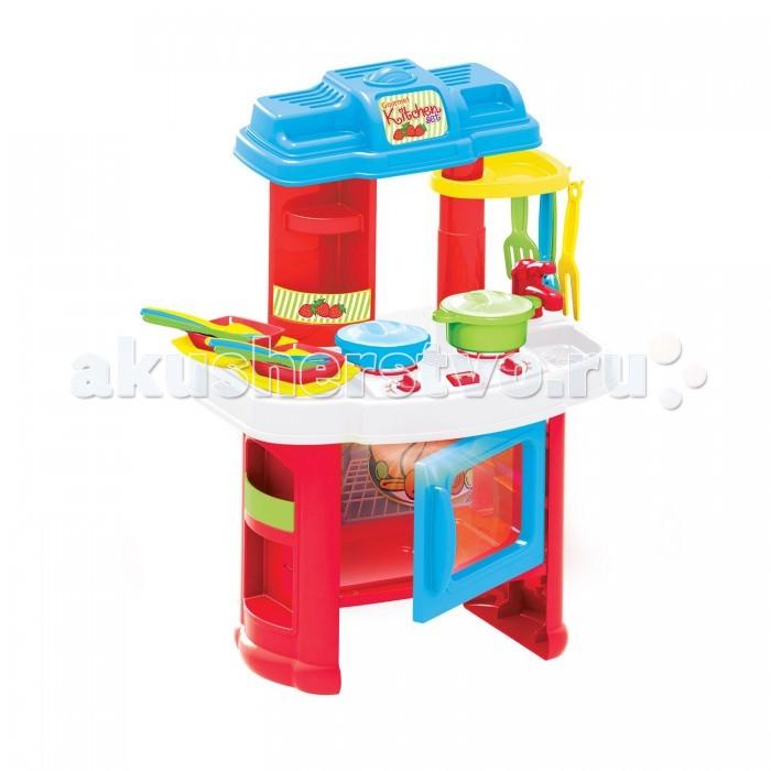 Dolu Игровой набор Моя кухня (на батарейках) 4105Игровой набор Моя кухня (на батарейках) 4105Dolu Игровой набор Моя кухня (на батарейках) 4105.  Кухня-лучший выбор для маленькой хозяйки.  Играя, она дает полную волю свой фантазии: придумывает рецепты, учится быть настоящим поваром.   Девочка может играть одна или в компании подружек, стимулируя навыки общения.   Игрушка сделана из качественной и легкой пластмассы.  Кухня работает на батарейках.  При нажатии на различные элементы играют звуки.  В комплекте 18 предметов.<br>