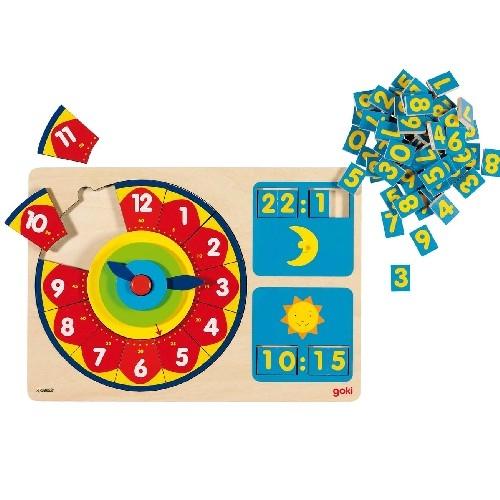 Деревянная игрушка Goki Часы-пазл До и после полудня