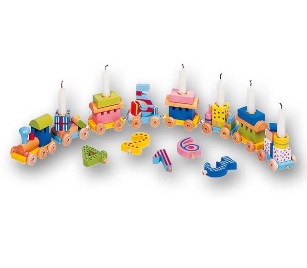 Товары для праздника Goki Декорация на День рождения с цифрами Вагончики цветные