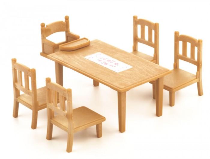 Sylvanian Families Игровой набор Обеденный стол с 5 стульямиИгровой набор Обеденный стол с 5 стульямиИгровой набор Sylvanian Families Обеденный стол с 5-ю стульями - это огромный и очень удобный красивый обеденный стол, сделанный специально для большой семьи из сказочной страны Сильвания. За таким столом уместится вся семья и никому не будет тесно.   В комплекте также идут удобные стулья, которые понравятся всем членам семьи. Сегодня за столом все семейство. Мама приготовила много блюд и все они замечательно смотрятся на таком удобном и красивом столе Sylvanian Families. Приятного Аппетита.  В набор Sylvanian Families Обеденный стол с 5-ю стульями входит: стол, 4 больших стула и 1 маленький.   Внимание: зверюшки в набор не входят.  Сказочный мир игровых наборов Sylvanian Families разнообразен - это всевозможные зверюшки, у каждого из которых есть собственный дом, семья, работа. Состав семей в игровых наборах Sylvanian Families не ограничивается стандартным «папа, мама, ребенок», здесь есть даже бабушки и дедушки. Герои игровых наборов Sylvanian Families разнообразны: кролики, еноты, медведи, мыши, ежи, белки и многие другие. Однако разнообразием героев мир игрушек Sylvanian Families не ограничивается. Дома, предметы мебели, игрушечная еда и многие другие аксессуары представлены в ассортименте игрушек Sylvanian Families.<br>