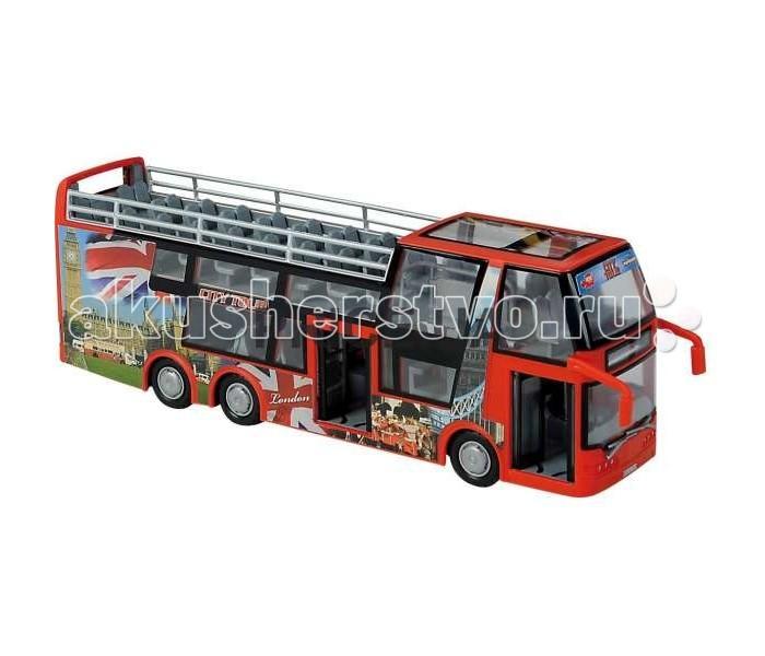 Dickie Туристический автобусТуристический автобусИгрушечный туристический автобус Dickie 3314322.  Двухэтажный яркий автобус для туристов с фрикционным механизмом управления обязательно понравится Вашему малышу, ведь стоит только нажать на одну кнопку и автобус тут же откроет перед посетителями все двери.  В ассортименте представлены два цветовых варианта автобуса - красный и желтый.  Длина автобуса составляет 29 см.<br>