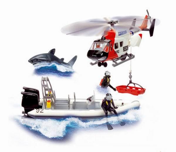 Вертолеты и самолеты Dickie Полицейский катер и вертолет