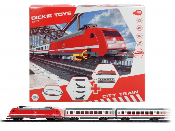 Dickie ГородскаяГородскаяРеалистичная детская железная дорога Dickie обязательно понравится Вашему ребенку. Ведь с ней интересно не только запускать состав и наблюдать за его движением, но и менять конфигурацию железнодорожного полотна.   Такая железная дорога обязательно понравится Вашему малышу, ведь поезд на ней может двигаться не только вперёд, но и назад, а также оснащён звуковыми и световыми эффектами.  В набор входит: локомотив (20 см) два пассажирских вагона (по 19 см) 2 прямые линии рельсов 10 изогнутых линий рельсов 1 переезд на линию вправо 1 переезд на линию влево  Размер возможных вариантов трассы: окружность (100 см), овал (130 х 100 см), овал со вписанной окружностью (100 х 155 х 100 см).  Питание: 2 батарейки типа АА (нет в комплекте).<br>