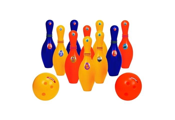 Edu-Play Набор для боулинга ЗоопаркНабор для боулинга ЗоопаркДетский игровой набор Боулинг послужит прекрасным тренажером во взрослую игру Боулинг.  Ваш ребенок вместе с друзьями научатся кидать шары в кегли, что одновременно будет прекрасным поводом для организации детской игры, а также разовьет в вашем ребенке внимательность,меткость и сосредоточенность.  В состав набора входят: Веселые наклейки животные Желтый шар - 1 шт,оранжевый шар - 1 шт Кегли оранжевые - 3 шт,желтые - 4 шт,синие - 3 шт.  Набор упакован в пластиковый пакет с цветной наклейкой.<br>