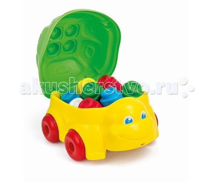 Конструктор Clementoni набор Черепаха с кубиками Baby Clemmyнабор Черепаха с кубиками Baby ClemmyМягкий ароматизированный конструктор из серии Clemmy для малышей. Развивает внимание, фантазию и пространственное мышление у малыша, укрепляет мелкие мышцы рук.  Упакованы в пластиковый ящик в виде черепахи, крышка которого может быть основой для конструкций. Черепашка имеет веревочку для катания.  крупные блоки удобны для детских ручек выполнены из мягкой резины, очень приятны на ощупь ароматизированы — имеют приятный оригинальный запах не токсичны использованы основные цвета — легко воспринимаются малышом, можно использовать для обучения моются водой — во время купания малыш тоже может поиграть в конструктор просты в собирании — самые маленькие крохи легко могут соединять и разъединять блоки  В комплекте: 15 блоков<br>