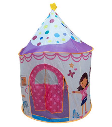 BabyOne Домик принцессы CBH-16 Ching-Ching Дом + 100 шаровДомик принцессы CBH-16 Ching-Ching Дом + 100 шаровChing-Ching Дом + 100 шаров (домик принцессы) CBH-16 - замечательная детская игровая палатка в форме шатра-башенки на самораскладывающемся каркасе-спирали – как раз для маленькой принцессы.  Множество цветных шариков добавят разнообразия игре! В детских мечтах каждая девочка думает о сказке, представляя себя феей или принцессой. В своем маленьком замке можно уединиться с другими принцессами или устроить пышный бал с любимыми куклами, можно спрятаться от злой колдуньи или огнедышащего дракона.  Достаточно лишь извлечь палатку из упаковки, как она сама раскладывается в домик (за счёт каркаса-спирали); трубочки вставляются в специальные кармашки снизу и сверху палатки для придания жесткости и удержания формы шатра.  Арочный вход с пологом: в открытом состоянии полог сворачивается и подвязывается к тканевой петельке. Палатка имеет дно, небольшой тканевый бортик у входа, высотой 6 см. Есть сетчатые окошки.  Замок не займет много места, а Ваша маленькая принцесса останется весьма довольной. Так вручите сказку и мечту Вашему ребенку! Игровой домик Принцессы прекрасно подойдет для сюжетно-ролевых игр детей от 3-х лет, разовьет воображение и артистичность.   Особенности:  рекомендуется для детей от 3-х лет палатка легкая, прочная, проста в сборке трубочки вставляются в специальные кармашки снизу и сверху палатки для придания жесткости и удержания формы шатра днище есть арочный вход с пологом: прикрепляется к палатке снизу с помощью «липучек», в открытом состоянии полог сворачивается и подвязывается сверху к тканевой петельке небольшой тканевый бортик у входа (около 6 см) окошки-сеточки – одно в форме звездочки, второе как в башенке  В комплекте: палатка; 4 трубочки каркаса; круглая нейлоновая сумочка на молнии Материал: нейлон Характеристики:  размер домика (дхшхв): 106х106х150 см<br>