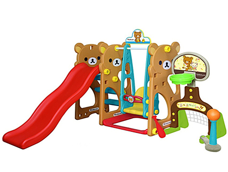Gona Toys Игровой комплекс МедвежонокИгровой комплекс МедвежонокИгровой комплекс Gona Toys Медвежонок GRS-014: игровой центр можно как для использования в доме, так и для игры на свежем воздухе. Комплекс предназначен не только для веселого времяпрепровождения детей, но и для их разностороннего развития. Малыши, получая удовольствие от игры, развивают физические навыки, координацию, пространственное мышление.   Ярко окрашенные детали способствуют развитию цветового восприятия ребенка. Конструкция игрового центра устойчивая и крепкая, что является гарантом безопасной игры для малыша.   Ухаживать за этим комплексом очень просто: пластиковые детали легко разбираются и моются. Хранение также не доставит хлопот: в разобранном виде центр занимает минимум пространства.  Особенности: подходит для детей от 1,5 до 4 лет устойчивая безопасная конструкция состоит из волнообразной горки и качелей, которые оснащены музыкальной панелью высота горки регулируется горка оснащена нескользящими рифлеными ступеньками оригинальный дизайн<br>