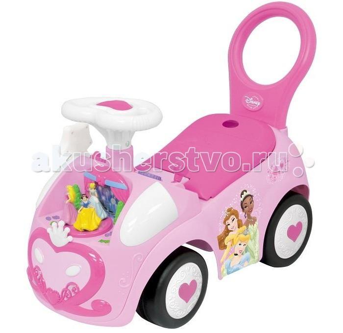 Каталка Kiddieland Танцующая ПринцессаТанцующая ПринцессаМашина-каталка Принцесса, со звуковым и световым эффектами, цвет розовый, сиденье темно-розовое, руль белый в виде сердечка.   Элегантный чудомобиль для маленьких принцесс, выполненный в стиле популярного мультфильма студии disney, развлечет малышку мигающими огоньками, приятными мелодиями, забавными звуками, а также реалистичными звуками двигателя и сигнала.   На капоте размещен сказочный замок с фигурками прекрасных принцесс, которые двигаются под звуки приятной музыки. В набор входит озвученная волшебная палочка.  Максимальная нагрузка: 25 кг  Для работы нужны 3 батарейки АА (входят в комплект)<br>