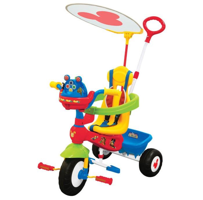 Велосипед трехколесный Kiddieland Микки Маус с ручкойМикки Маус с ручкойВелосипед трехколесный Микки Маус - замечательный детский велосипед. Такой велосипед обязательно понравится Вашему ребенку. С таким велосипедом не будет скучно на прогулке.   Характеристики: Подойдет для детей от 1 года Велосипед выполнен из высококачественных материалов Рама и ручка велосипеда металлические Козырек текстильный У велосипеда есть родительская ручка, которая управляет передним колесом Есть специальный барьер и фиксирующие ремешки для безопасности ребенка Удобное сидение с высокой спинкой Есть подножка, если ребенок не хочет крутить педали Педали можно заблокировать Сзади есть корзинка для игрушек 3 устойчивых колеса, которые сделаны из пластика У велосипеда яркая красивая расцветка На руле есть подставка для бутылочки Надежная конструкция прослужит долгие годы  Максимальная нагрузка 25 кг.<br>