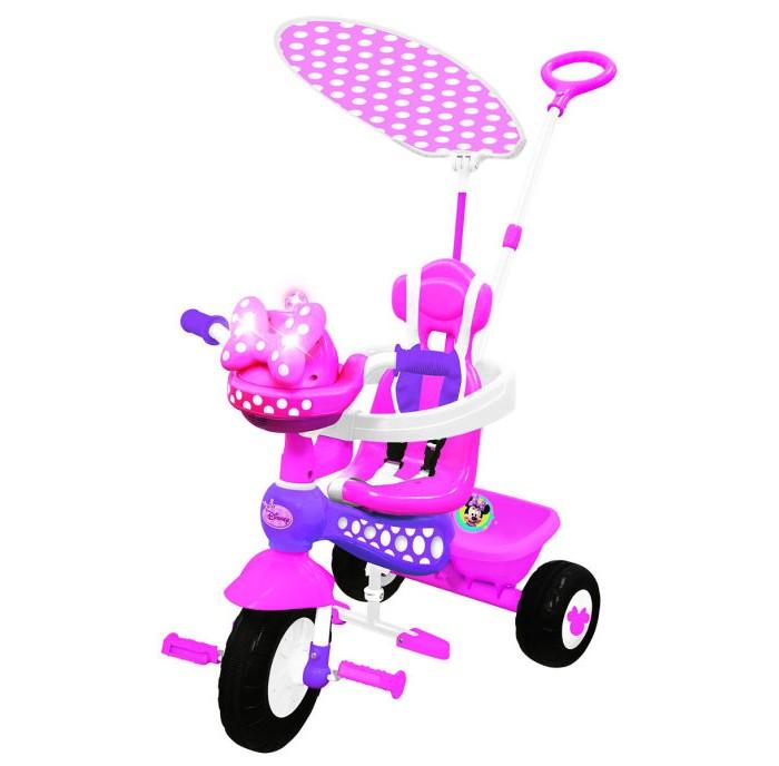 Велосипед трехколесный Kiddieland Минни Маус с ручкойМинни Маус с ручкойВелосипед трехколесный Минни Маус - замечательный детский велосипед. Такой велосипед обязательно понравится Вашему ребенку. С таким велосипедом не будет скучно на прогулке.   Характеристики: Подойдет для детей от 1 года Велосипед выполнен из высококачественных материалов Рама и ручка велосипеда металлические Козырек текстильный У велосипеда есть родительская ручка, которая управляет передним колесом Есть специальный барьер и фиксирующие ремешки для безопасности ребенка Удобное сидение с высокой спинкой Есть подножка, если ребенок не хочет крутить педали Педали можно заблокировать Сзади есть корзинка для игрушек 3 устойчивых колеса, которые сделаны из пластика У велосипеда яркая красивая расцветка На руле есть подставка для бутылочки Надежная конструкция прослужит долгие годы  Максимальная нагрузка 25 кг.<br>