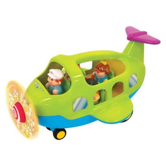 Kiddieland Самолет со светящимся пропеллеромСамолет со светящимся пропеллеромИгровой центр Самолет - это настоящий самолет на небольших шасси, с пропеллером, кабиной пилота и штурвалом, с крыльями и хвостом.   В комплекте, помимо пилота, есть еще 3 пассажира и тележка для перевозки багажа.   Хвостовой отсек открывается - там багажное отделение.   Во время вращения пропеллер светится множеством лампочек. Нажав на штурвал, услышим предупреждение о взлете или посадке и рев турбин самолета.   Нажав на любого из человечков-пассажиров, услышим веселую мелодию.  Батарейки: 3 батарейки АА (входят в комплект) Размер: 33 х 23,5 х 20 см<br>