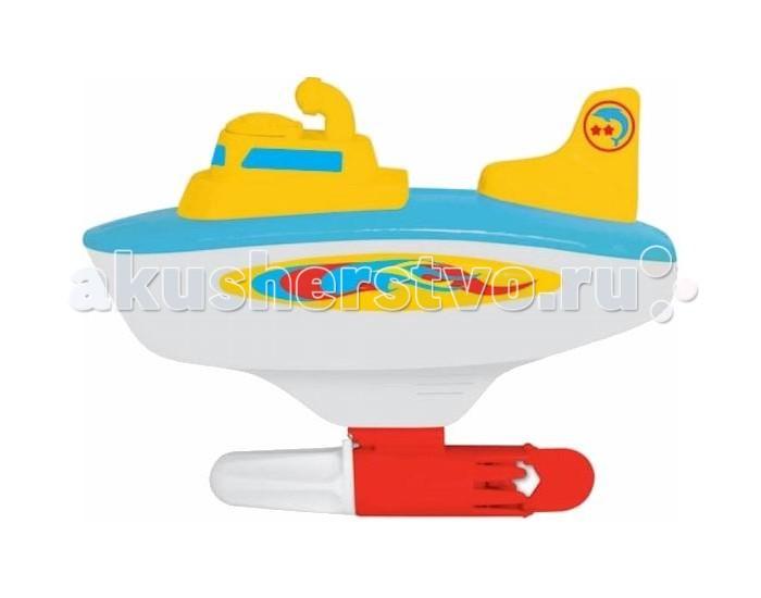 Kiddieland Моя первая субмаринаМоя первая субмаринаМоя первая субмарина Kiddieland со звуковыми и световыми эффектами.   Игрушка умеет поворачивать вправо и влево. При повороте рукоятки, расположенной под килем, запускается безопасный для ребенка гребной винтик, и лодка плывет.  Работает от 1-й батарейки стандарта АА 1,5V (входит в комплект).<br>