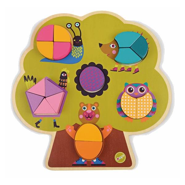 Деревянная игрушка Oops Пазл Построй деревоПазл Построй деревоПазл Построй дерево Oops – отличное занятие для Вашего ребенка.   Особенности: Постепенно выкладывая большие разноцветные детали на деревянную основу, малыш получит объемное дерево, в кроне которого прячутся животные. Игрушка изготовлена из абсолютно безопасного, нетоксичного и прочного материала.  Детали изделия не ломаются и не пачкают руки.  Пазл Построй дерево Oops познакомит ребенка с основными цветами и разными формами. Собирая вместе с ребенком разноцветный пазл, Вы поможете развитию у Вашего малыша памяти, воображения, моторики пальчиков, пространственного и логического мышления.  В комплекте: 17 деталей.  Швейцарская компания Oops специализируется на разработке и производстве эксклюзивных игрушек и аксессуаров для детей. Яркий узнаваемый дизайн, разнообразие используемых высококачественных материалов, широкий спектр расцветок и размеров, безупречное качество изготовления — это слагаемые успеха торговой марки.   Ассортимент товаров Oops включает в себя мягкие и деревянные игрушки, полезные аксессуары, текстиль и даже мебель для спальни. Каждая линия детской продукции, с момента зарождения, детально прорабатывается в строгом сотрудничестве с лучшими лабораториями мира, с целью создания товаров высочайшего качества.<br>