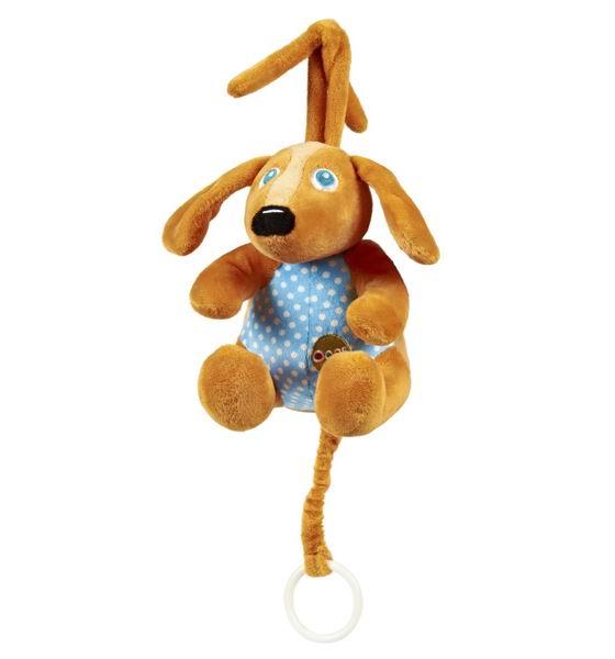 Подвесная игрушка Oops музыкальная Собачкамузыкальная СобачкаМузыкальную подвеску Собачка Oops Ваш ребенок оценит по достоинству.   Особенности: Изготовлена подвеска из мягкого текстиля ярких приятных тонов.  Потянув за колечко, ребенок услышит негромкую успокаивающую мелодию, которая поможет малышу успокаиваться и заснуть.  С такой игрушкой ребенку никогда не станет скучно.  Яркие цвета и компоненты будут содействовать развитию цветового и слухового восприятия, тактильных ощущений, моторики и мыслительной деятельности.  Крепиться к кровати при помощи специальных веревочек.  Швейцарская компания Oops специализируется на разработке и производстве эксклюзивных игрушек и аксессуаров для детей. Яркий узнаваемый дизайн, разнообразие используемых высококачественных материалов, широкий спектр расцветок и размеров, безупречное качество изготовления — это слагаемые успеха торговой марки. Ассортимент товаров Oops включает в себя мягкие и деревянные игрушки, полезные аксессуары, текстиль и даже мебель для спальни. Каждая линия детской продукции, с момента зарождения, детально прорабатывается в строгом сотрудничестве с лучшими лабораториями мира, с целью создания товаров высочайшего качества.<br>