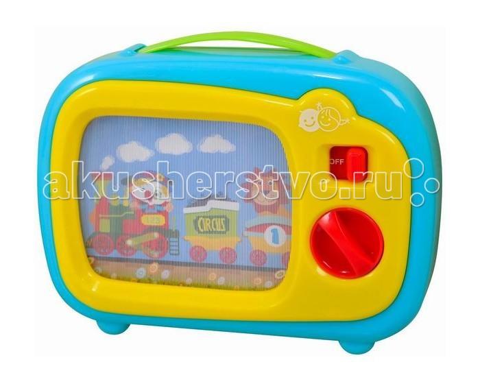Playgo Игрушка Телевизор 2195Игрушка Телевизор 2195Телевизор включается кнопкой.   После завода начинает играть музыка, а на экране движется картинка с животными.  Нежные, красивые картинки развлекут Вашего малыша.  Телевизор можно взять с собой – ведь у него есть удобная ручка для переноски.<br>