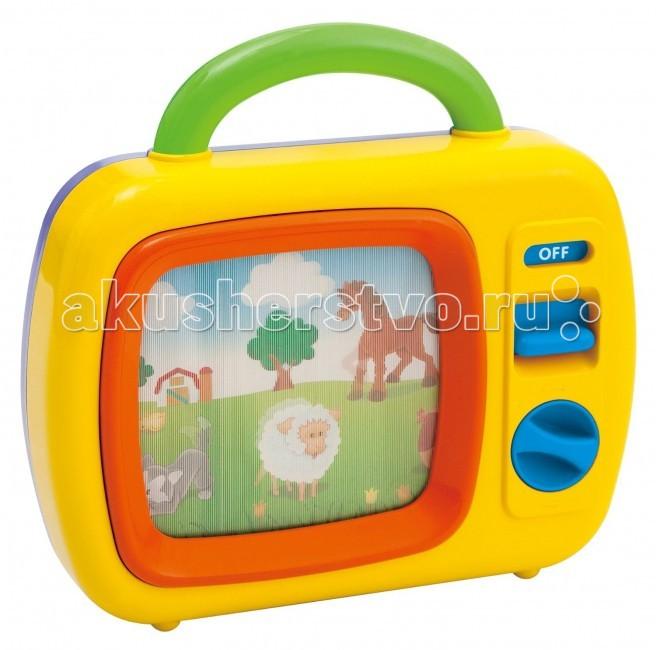 Развивающая игрушка Playgo Игрушка Телевизор 2196Игрушка Телевизор 2196Телевизор и игровой центр Playgo Экран телевизора переливается и прокручивает небольшой сюжет из жизни животных в деревенской атмосфере.   В небе светит солнышко, плывут облака, на лужайке шевелится травка и собрались все знакомые животные.   Картинка медленно плывет, прокручивается полностью примерно за 2 минуты, и посторяется снова.   Кино сопровождается красивой мелодией, которая обычно используется в мобилях и других музыкальных игрушках для малышей - колыбельная Брамса. Игрушка приводится в действие при помощи механического завода. Телевизор имеет ручку для переноски, рекомендуем взять его в дорогу, он надолго привлечет внимание вашего малыша.  С одной стороны это телевизор, с другой - активный центр с разными интересными штучками.   Особенности: Развивающий центр Телевизор - это маленький механический телевизор с ручкой-переноской.  Телевизор включается кнопкой On/Off. Имеется также кнопка механического завода (по часовой стрелке).  После завода начинает играть музыка, а на экране движется картинка с животными.  Материал: пластмасса Возраст: от 2 лет Размер товара: 26 х 34 х 8,5 см<br>