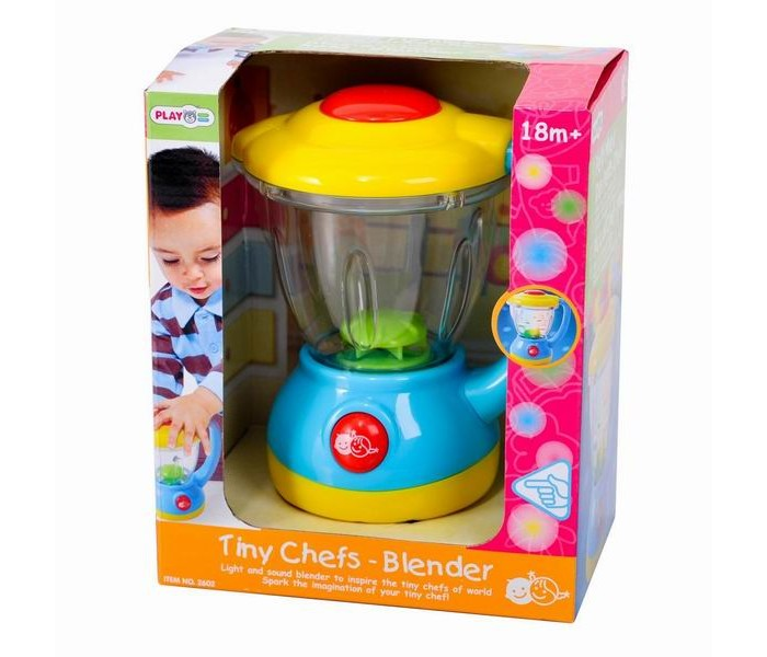 Playgo Мой первый блендерМой первый блендерМой первый блендер – это незаменимый атрибут детской кухни.  Особенности звуковые и световые эффекты позабавят малышку, добавив сюжетной игре еще больше интереса и блеска крышка блендера съемная в прозрачную емкость можно насыпать продукты есть большая кнопка включения и выключения, при нажатие на которую раздается звук, имитирующий работу блендера сюжетно-ролевые игры с набором поспособствуют развитию социальных навыков, мелкой моторики, разговорной речи, ловкости, хозяйственности, приучат малышку к порядку, привьют любовь к чистоте  Размеры блендера 15х18х10 см<br>