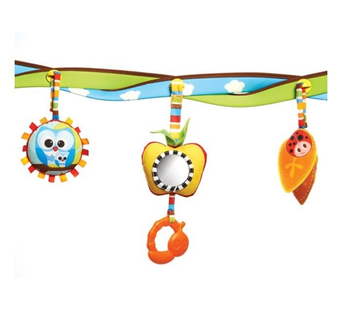 Tiny Love Радуга-дугаРадуга-дугаРадуга-дуга с комплектом игрушек для кресла-няни, автомобильного кресла или прогулочной коляски. Радуга крепится с помощью удобных пластиковых клипс. 3 мягкие симпатичные игрушки подвешиваются к радуге-дуге за мягкие петли, на высоту, удобную для малыша.  Разные на ощупь материалы игрушки способствуют развитию тактильных ощущений у малышей.  В комплекте прорезыватель и безопасное зеркальце.   Преимущества: Стимулирует визуальное развитие и развитие мелкой моторики ребенка. Гибкая арка позволяет легко наклонить игрушку к ребенку. Специальные шаблоны и цвета притягивают внимание ребенка. Универсальное крепление подходит для большинства колясок и переносок. Отличная игрушка для поездок – легко складывается, упаковывается и развлекает ребенка в пути. Дуга-арка легко крепится к коляске или переноске.  Размер: Длина 45 см Ширина 31 см Высота 7 см<br>