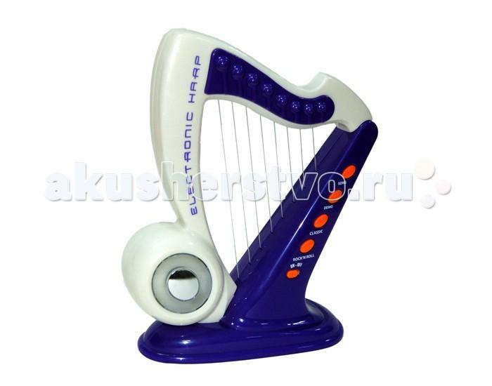 Музыкальная игрушка Playgo Электронная арфаЭлектронная арфаАрфа PlayGo Play 4360 - это замечательный музыкальный инструмент для вашего ребенка. Этот инструмент станет проводником в мир музыки и познакомит ребенка с различными звучаниями. Эта игрушка способствует развитию слуха, чувства ритма вашего малыша.   Электронная арфа выполнена в бело-фиолетовых тонах.  Имеет прочное основание, позволяющее поставить ее на стол.   На арфе - 8 струн, а также несколько режимов и записанных мелодий.   Нажав кнопку, можно воспроизвести их.  Для работы требуются батарейки типа АА.  Электронная арфа упакована в картонную коробку.<br>