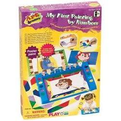 Раскраска Playgo Набор Рисуем по цифрамНабор Рисуем по цифрамИгровой набор «Рисуем по цифрам» развивает не только творческие способности, но и знакомит в игровой форме с цифрами.   В набор входят: краски, кисточки, бумага для рисования, пластмассовые трафареты.   С помощью пластмассовых трафаретов ребенок может нанести необходимые контуры на бумагу. Детали рисунка пронумерованы и каждой цифре соответствует определенный цвет. Соблюдая это соответствие, ребенок нарисует настоящую картину, заодно познакомится с цифрами.   Занятия с набором развивают творческие способности, оформительский вкус, фантазию, мелкую моторику, учит работать по образцу.   Набор упакован в картонную коробку. Все предметы изготовлены из экологически чистых материалов, безопасных для ребенка.  Комплектация: 8 баночек с гуашью, 2 кисти разных размеров<br>