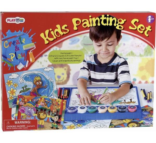 Раскраска Playgo Набор для раскрашиванияНабор для раскрашиванияНабор для раскрашивания PlayGo 7660 станет отличным подарком, который поможет увлекательно и интересно провести время.  Ребенок может использовать шаблоны, которые есть в комплекте, или сделать рисунок сам, проявив фантазию. Раскрашивание способствует развитию фантазии, внимания и моторики рук.  В наборе: 8 баночек с гуашью - красный, желтый, синий, зеленый, фиолетовый, черный, белый, оранжевый, 20 мл. 4 кисти разных размеров набор цветных карандашей, 10 шт  набор восковых мелков, 12 шт  планшет для рисования  листы бумаги для раскрашивания по контуру<br>