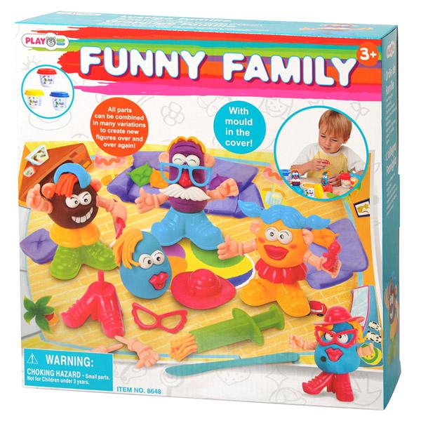 Playgo Набор Забавная семейкаНабор Забавная семейкаНабор PlayGo Play 8648 - красочный набор для лепки, который поможет ребенку создать самые незабываемые конструкции.   Масса для лепки не липнет к рукам. Освоив работу с пластилином, малыш может начать лепить настоящих животных и людей.  Данный набор развивает мелкую моторику рук, подготавливая их к письму, творческие способности, фантазию и воображение.  В наборе: 3 банки пластилина в баночках с крышками-формочками, шприц для пластилина (получаются колбаски различной формы), детали для создания фигурок (ноги, руки, прически и шляпы, уши, носы и другие аксессуары).  Пластилин изготовлен на пищевой основе, безвреден, приятно пахнет и не пачкает рук, легко смывается.<br>