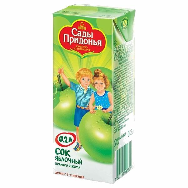 Сады Придонья Сок Яблочный прямого отжима с 3 мес., 200 мл