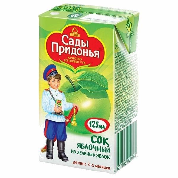 Сады Придонья Сок Яблоко зеленое с 3 мес., 125 мл